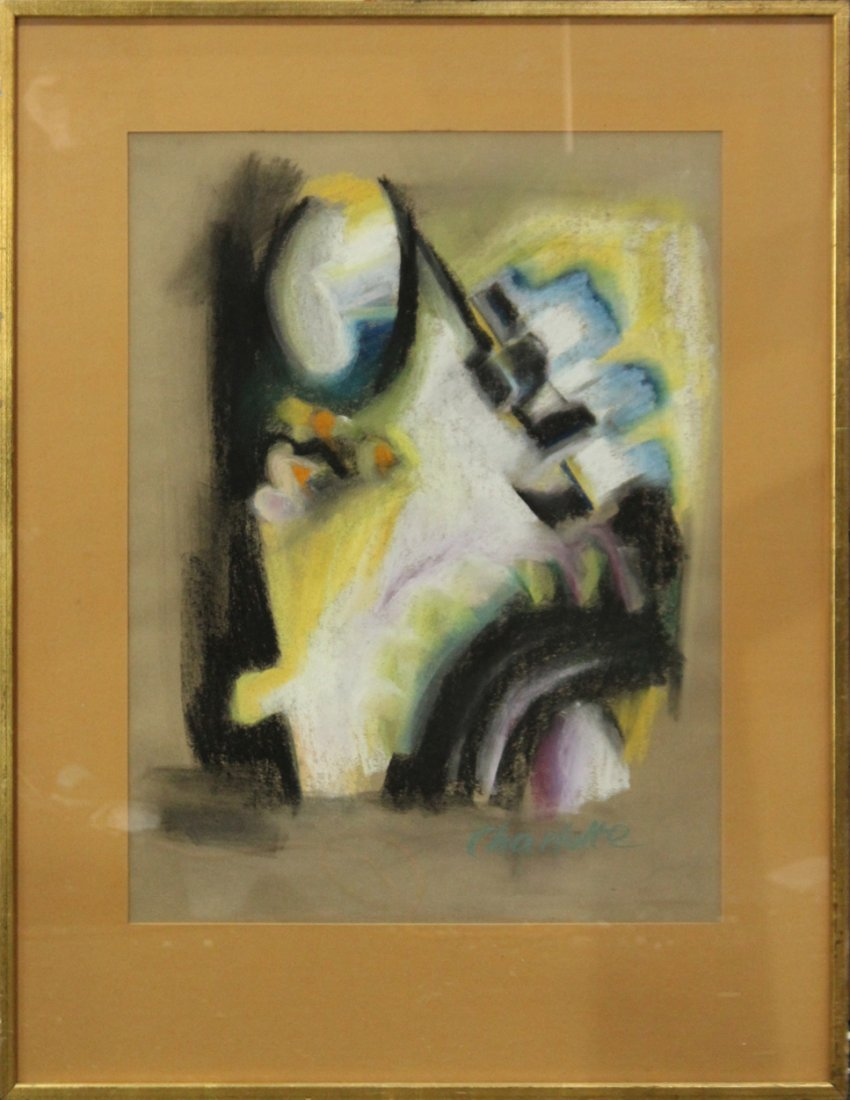 CHARLETTE - MID CENTURY ABSTRACT PASTEL . Signed