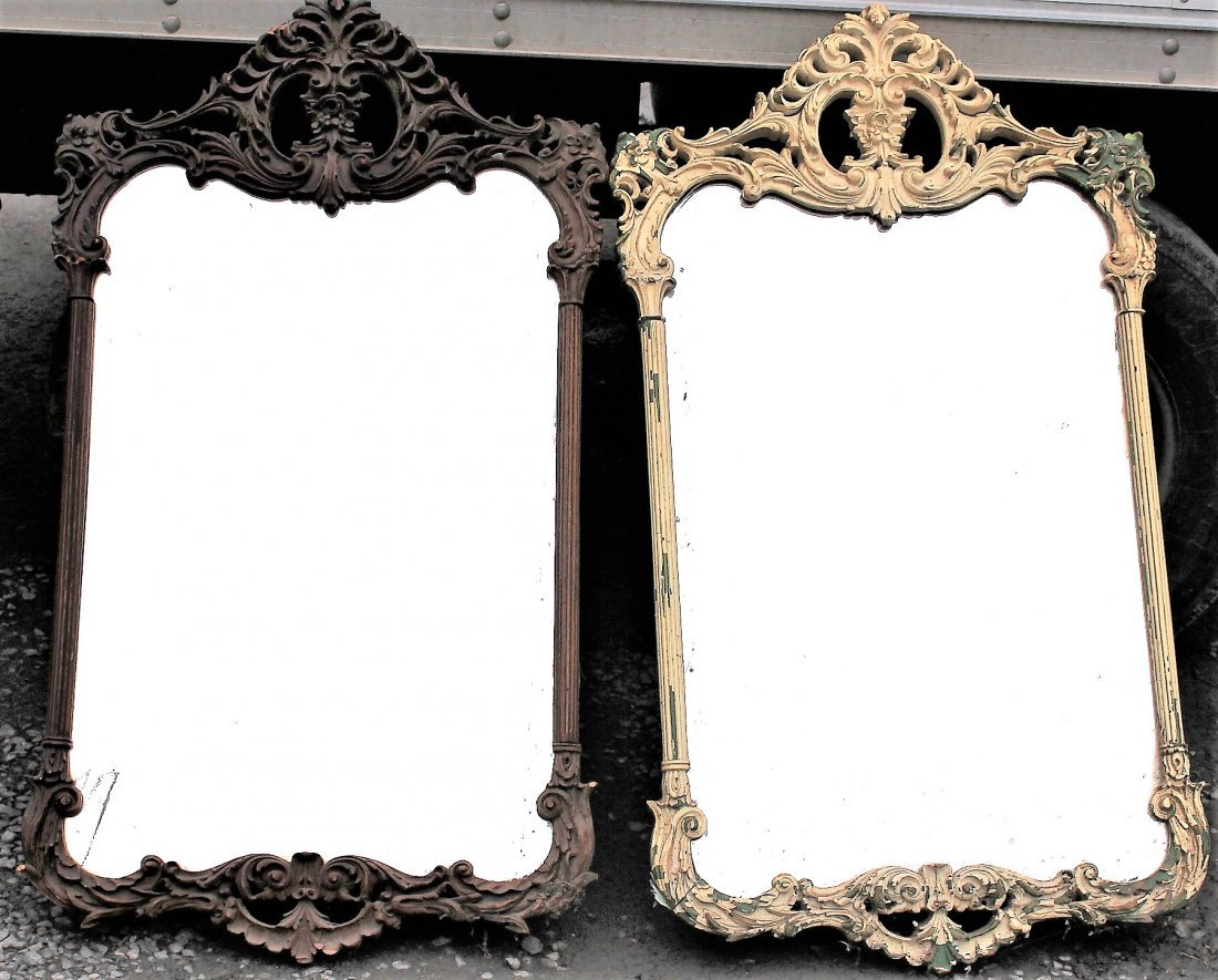 2 FRENCH CARVED WOOD FRAME MIRRORS