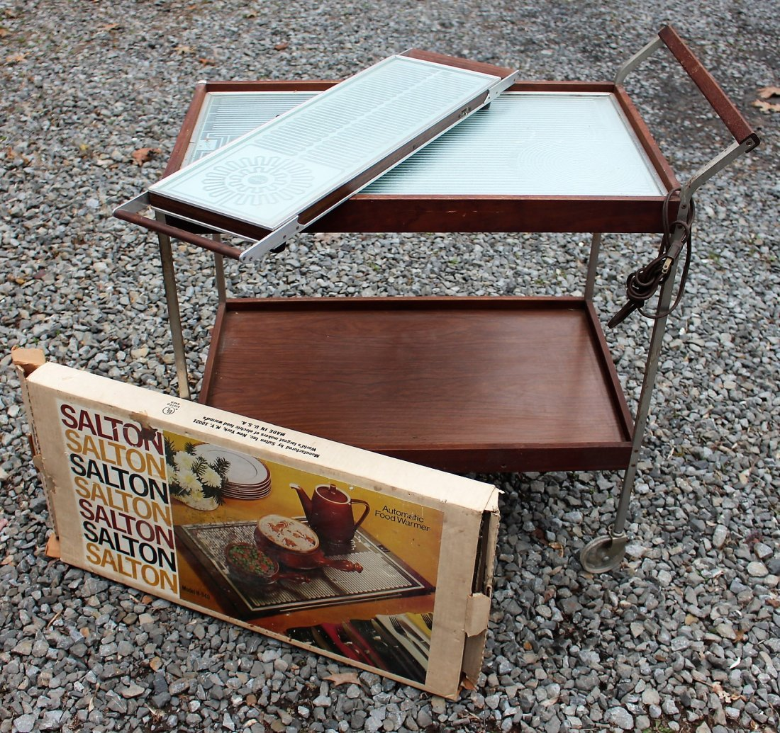 3 Pieces 1980s Vintage WARMER SERVING CART AND TRAYS