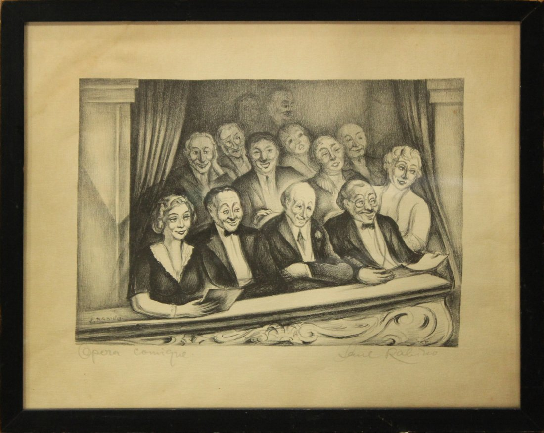 Early Lithograph AT THE OPERA, Artist Signed