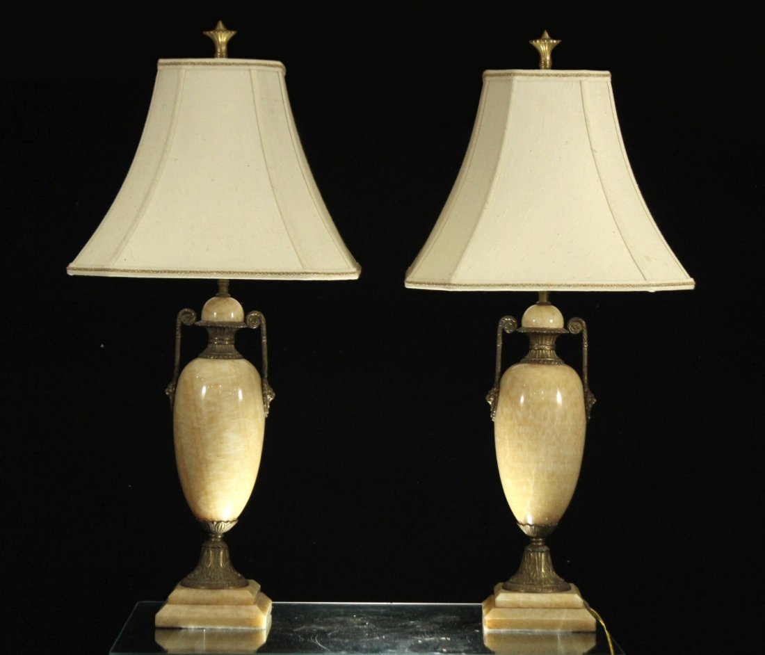Pair of French marble lamps with silk shades