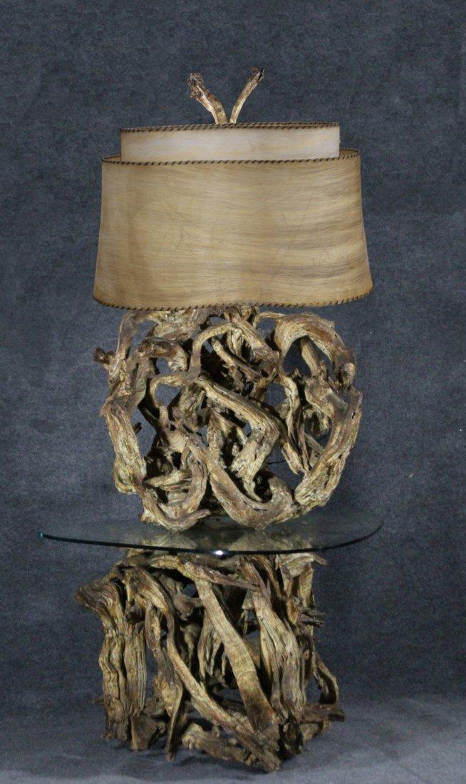 SPECTACULAR FOLK ART DRIFTWOOD LAMP AND TABLE