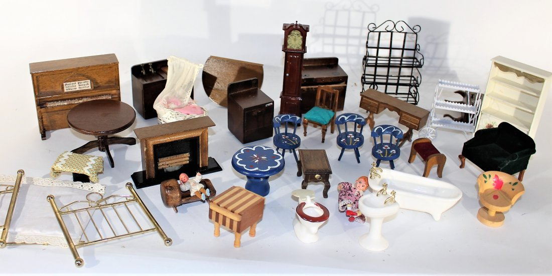 ASSORTMENT VINTAGE DOLL FURNITURE WOOD METAL PORCELAIN