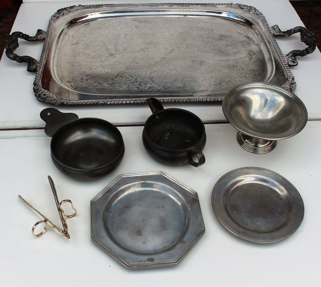7 Piece ASSORTED SILVER PLATE SERVING TRAY AND PEWTER