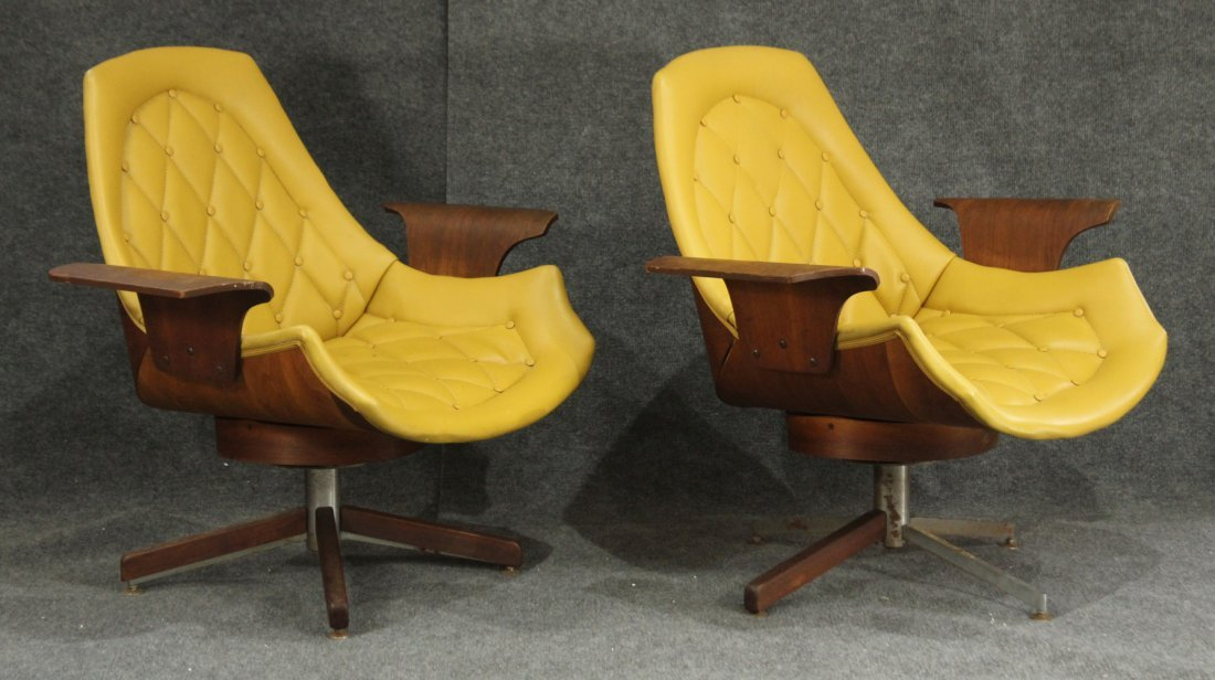 Pair of Mulhauser style (attrb) yellow vinyl chairs