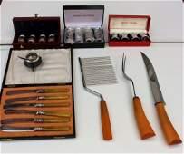 GEORG JENSEN Sterling S&P SET, BAKELITE Carving Set Etc