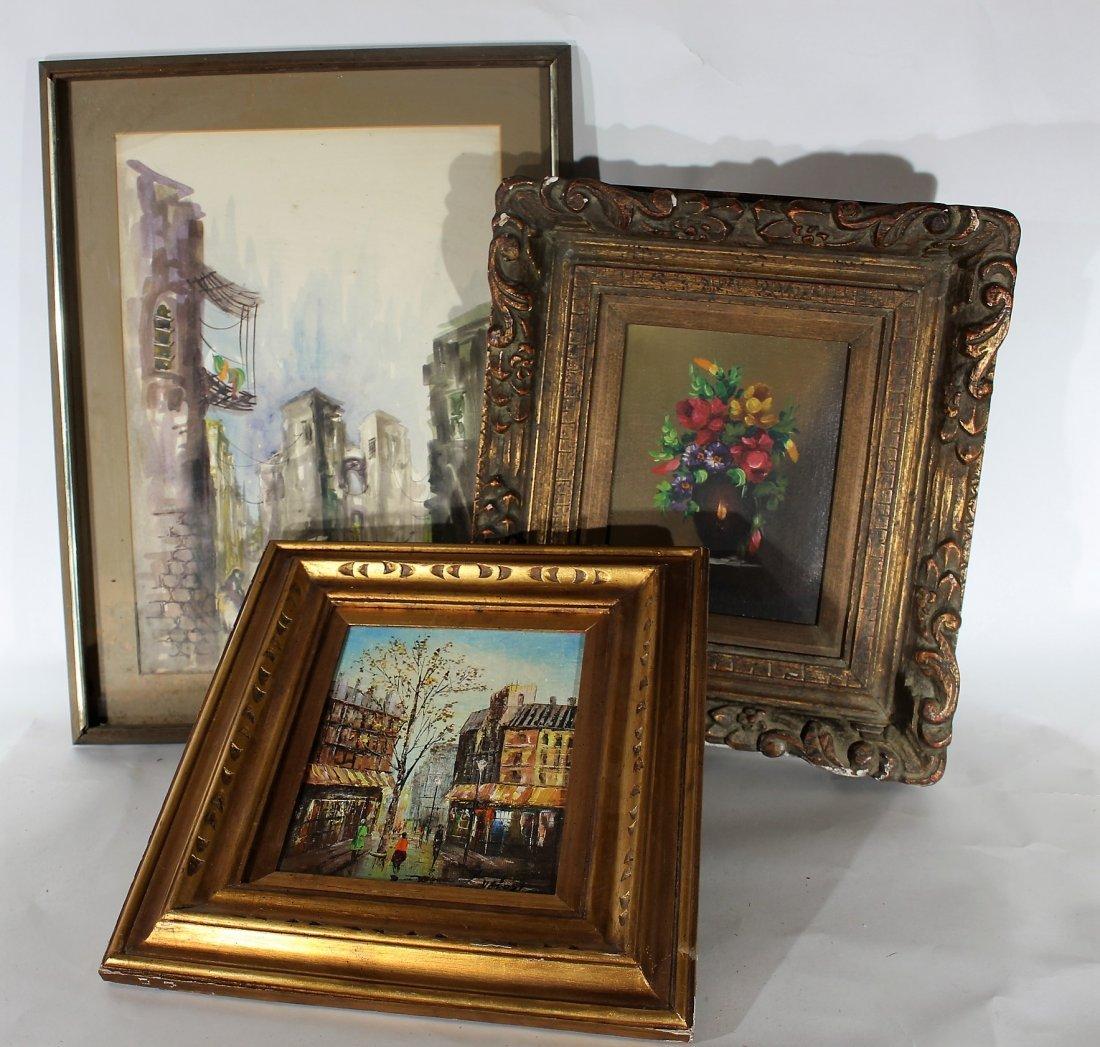 3 Pieces Estate Artwork, 1Watercolor / 2 Oils