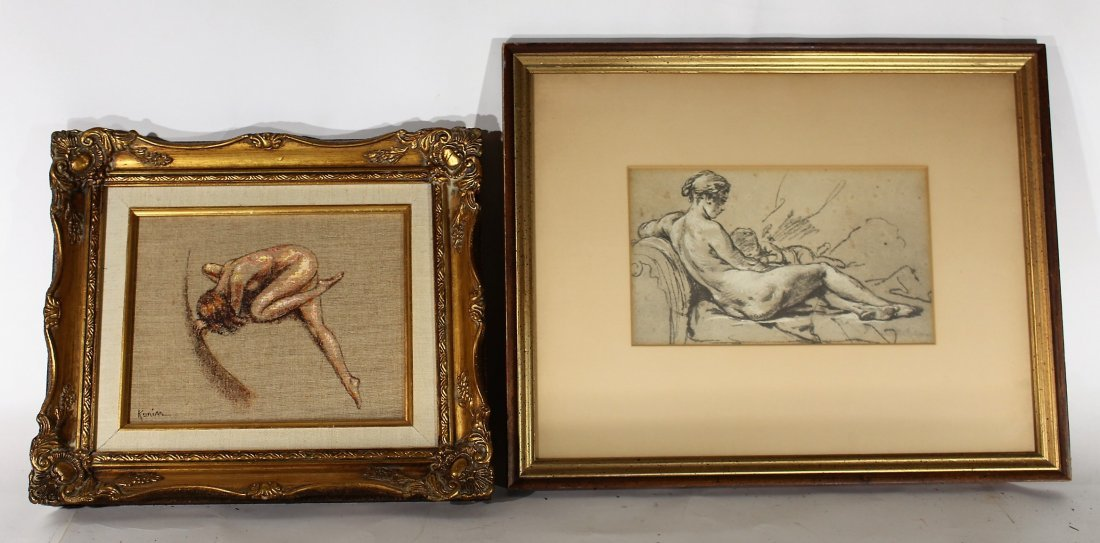2 PIECES ARTWORK, NUDE OIL / Reclining Nude Print
