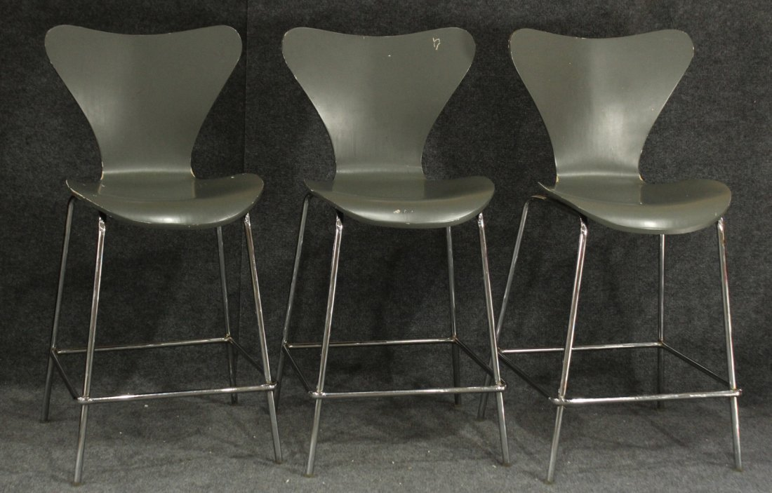 Mid-century modern style bar stools bent wood