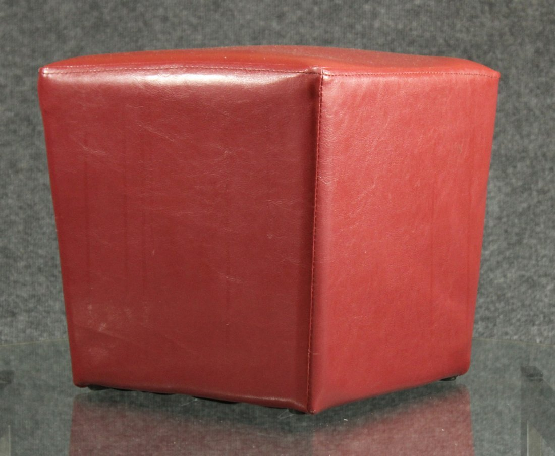 Small red leather ottoman cube
