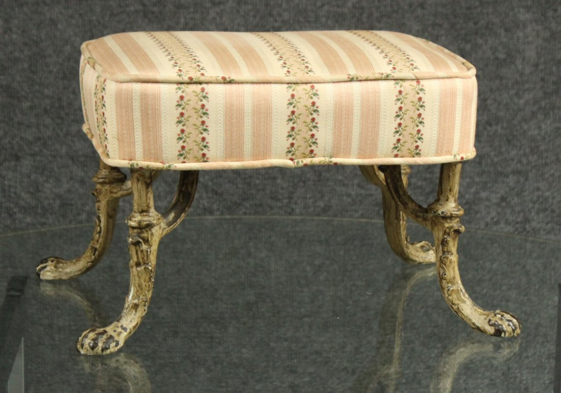 Small Victorian Cast Iron Leg Footstool Upholstered Top
