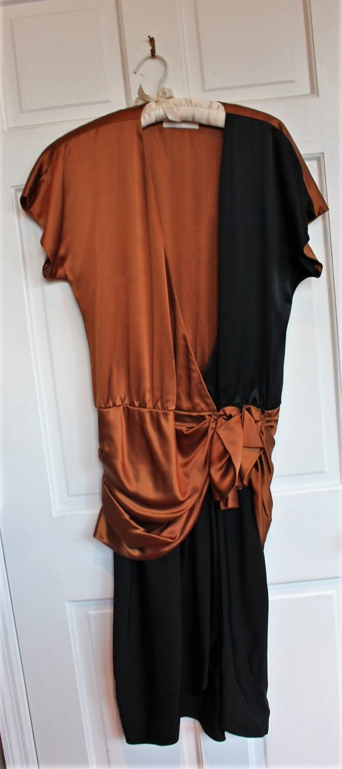 DESIGNER EVENING GOWN BY RON LEAL, Brown and Black