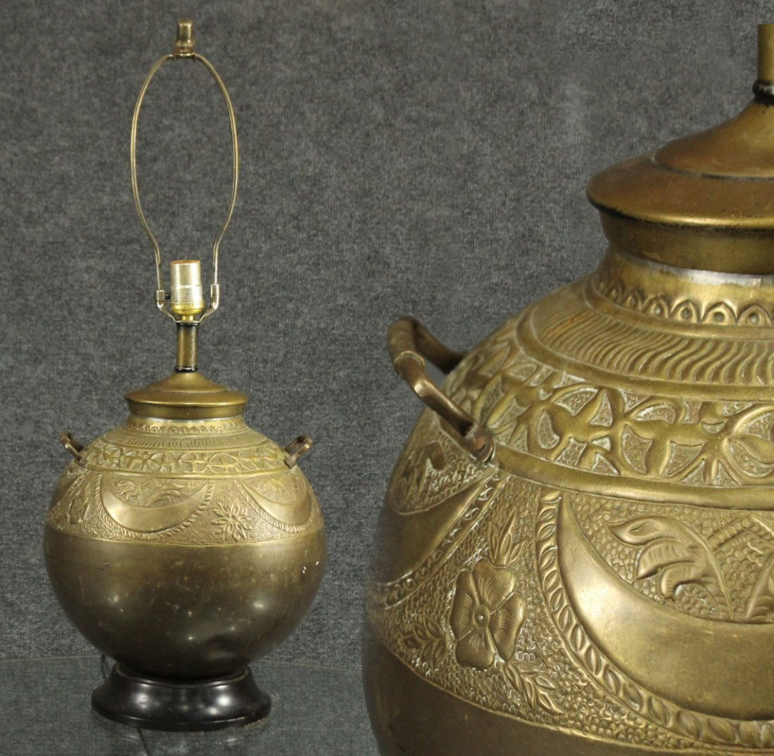 Antique TURKISH BRASS LAMP Hand Tooled Design