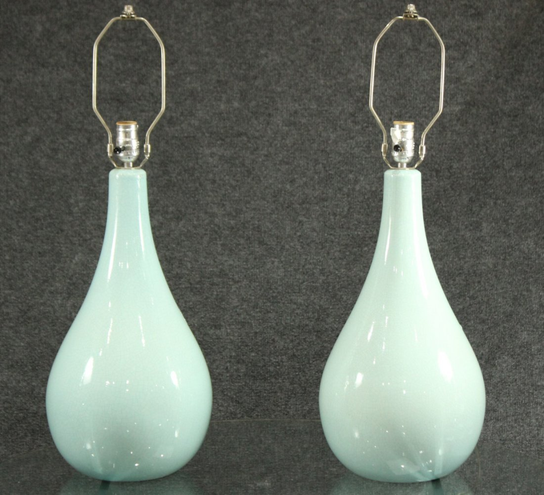 Mid-century modern turquoise crackled porcelain lamps