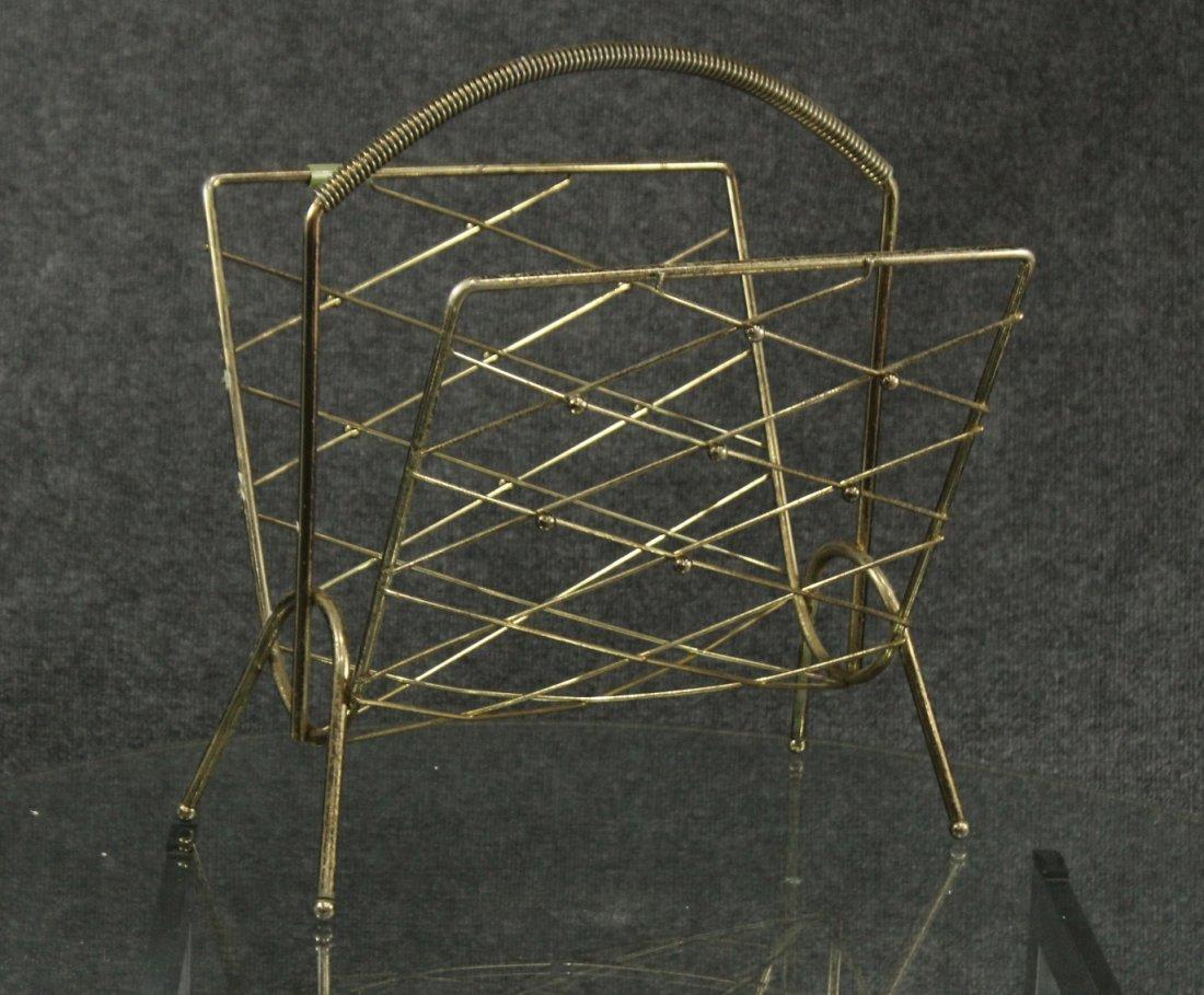 Mid-century paul mccobb style brass magazine rack