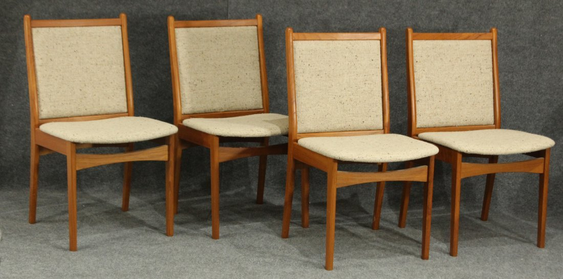 SOS DENMARK SET FOUR [4] TEAK DINING CHAIRS