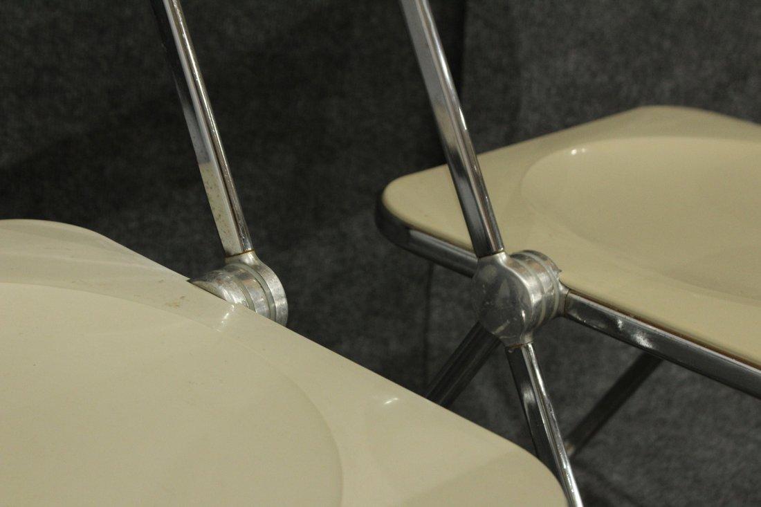CASTELLI ITALY Set 6 FOLDING CHROME WHITE PLASTIC CHAIR - 4