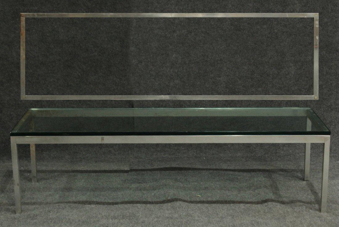 KNOLL STYLE CHROME RECTANGULAR GLASS TOP COFFEE TABLE