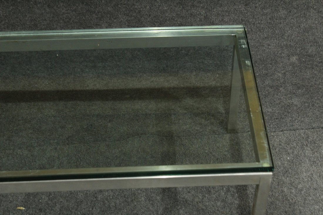 KNOLL STYLE CHROME RECTANGULAR GLASS TOP COFFEE TABLE - 5