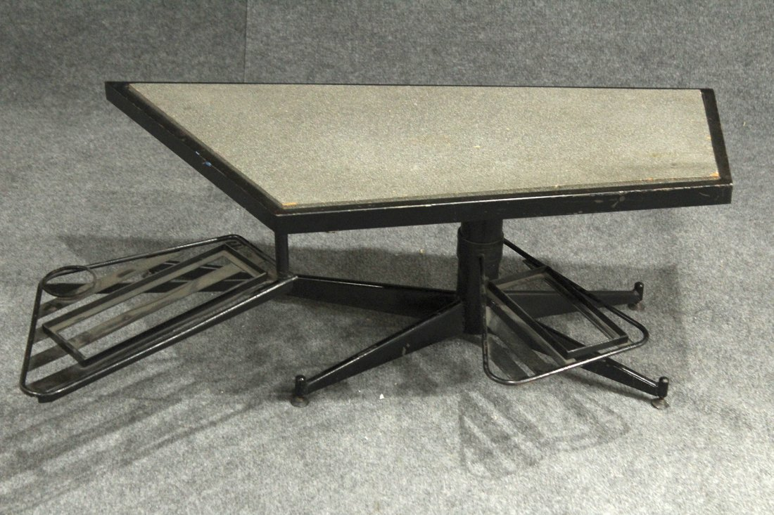 UNUSUAL DIRECTIONAL COFFEE TABLE WITH SLIDE OUT TRAYS