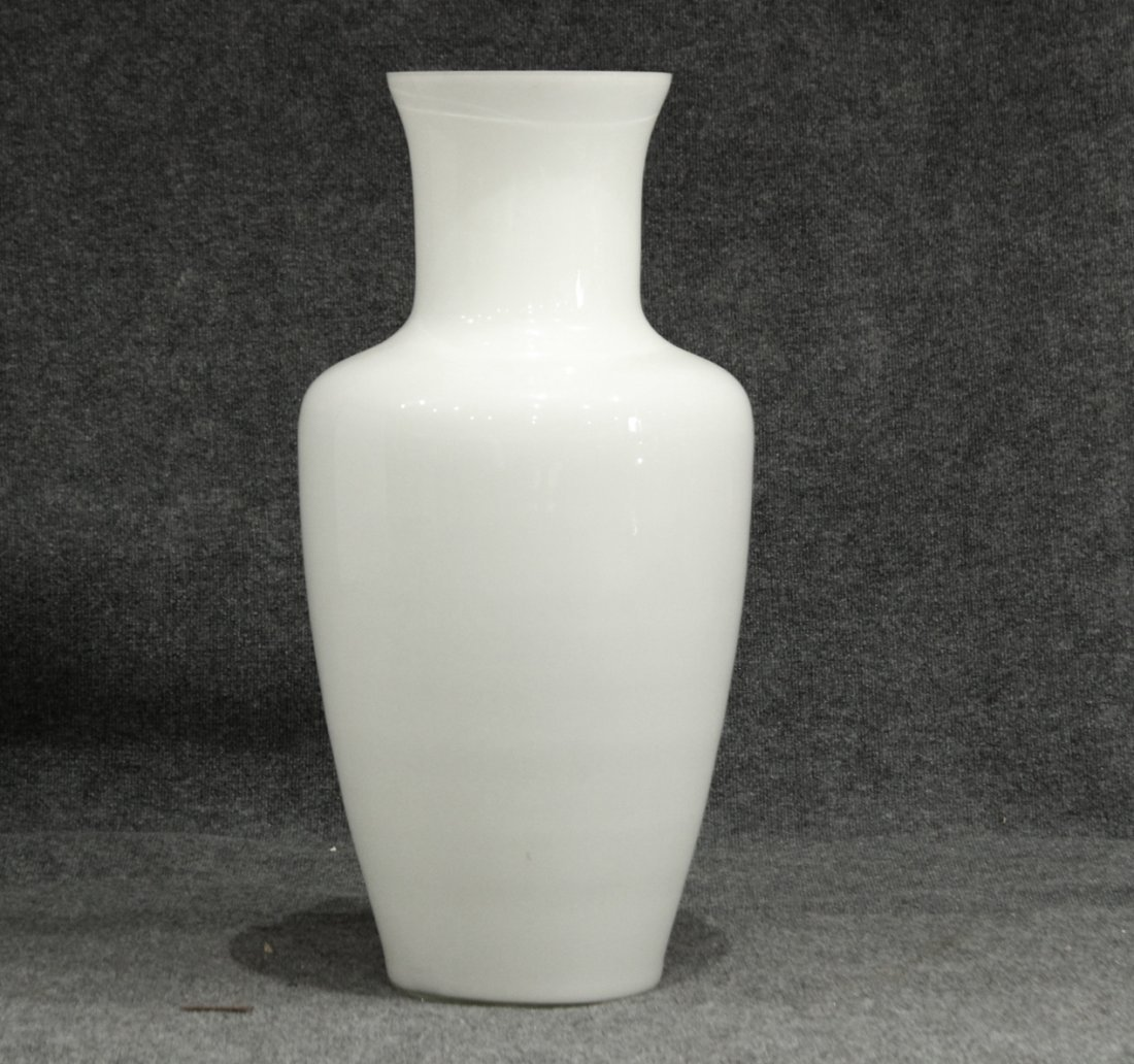 MID CENTURY TALL WHITE CASED GLASS FLOOR VASE