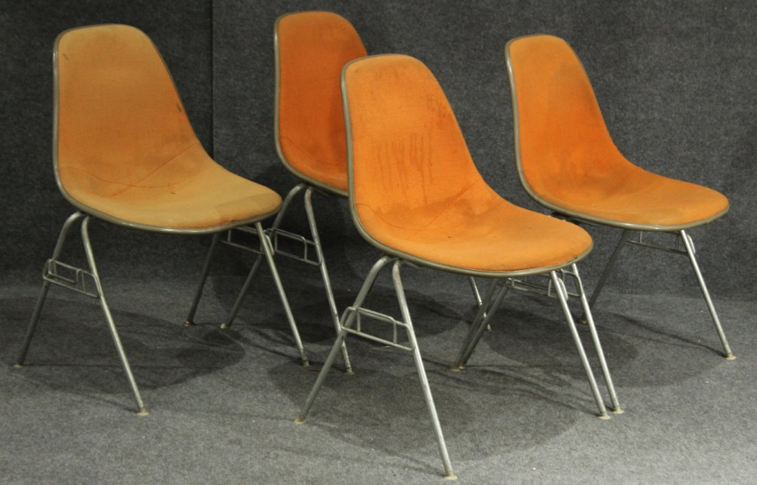 FOUR [4] HERMAN MILLER ORANGE MOLDED STACKABLE CHAIRS