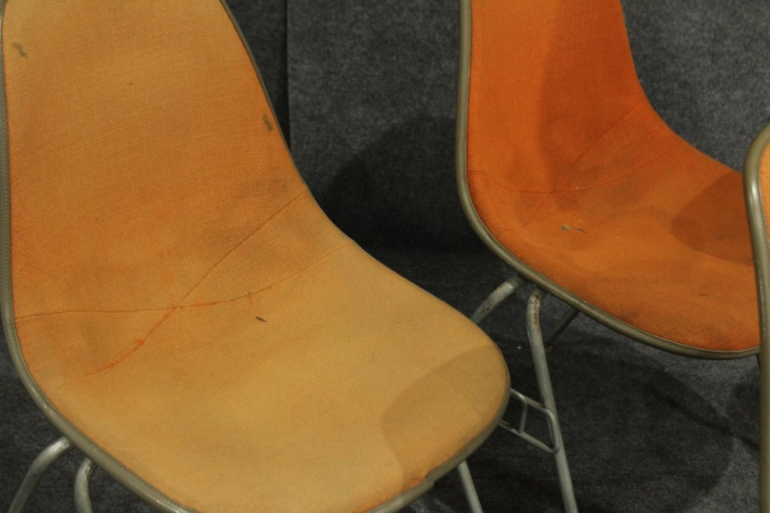 FOUR [4] HERMAN MILLER ORANGE MOLDED STACKABLE CHAIRS - 3