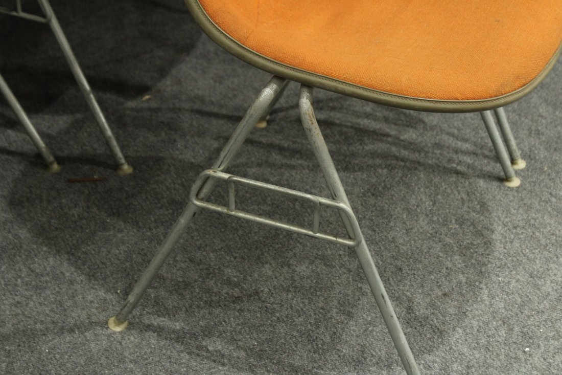 FOUR [4] HERMAN MILLER ORANGE MOLDED STACKABLE CHAIRS - 4