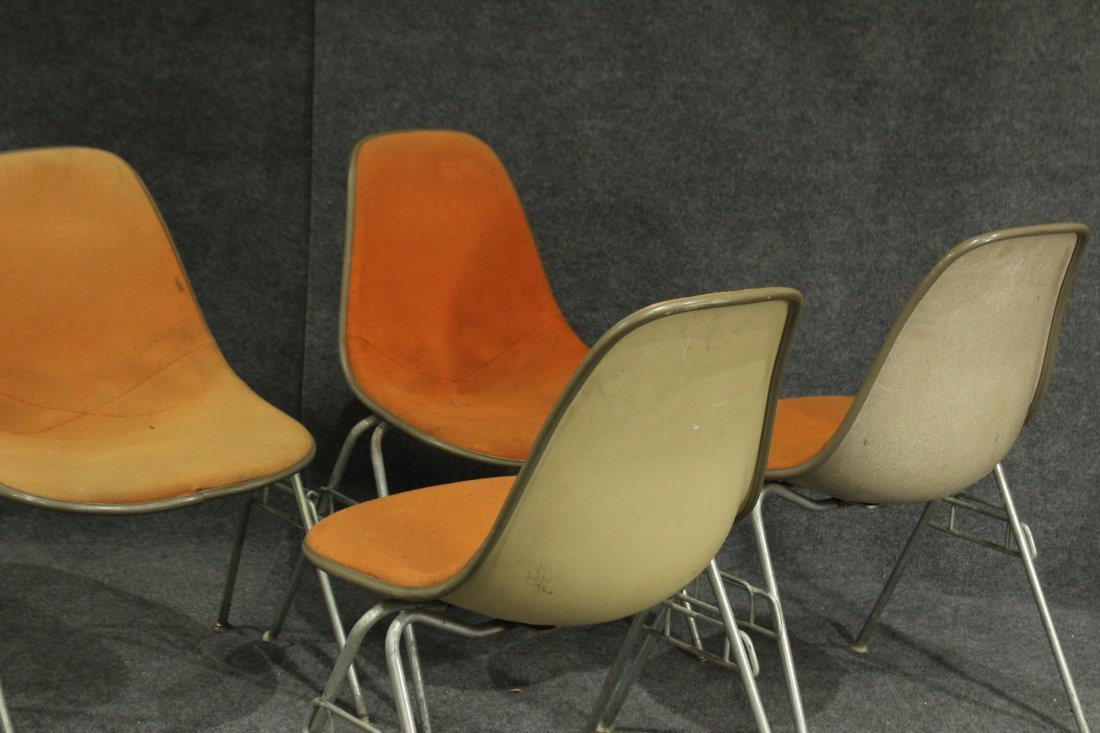 FOUR [4] HERMAN MILLER ORANGE MOLDED STACKABLE CHAIRS - 5