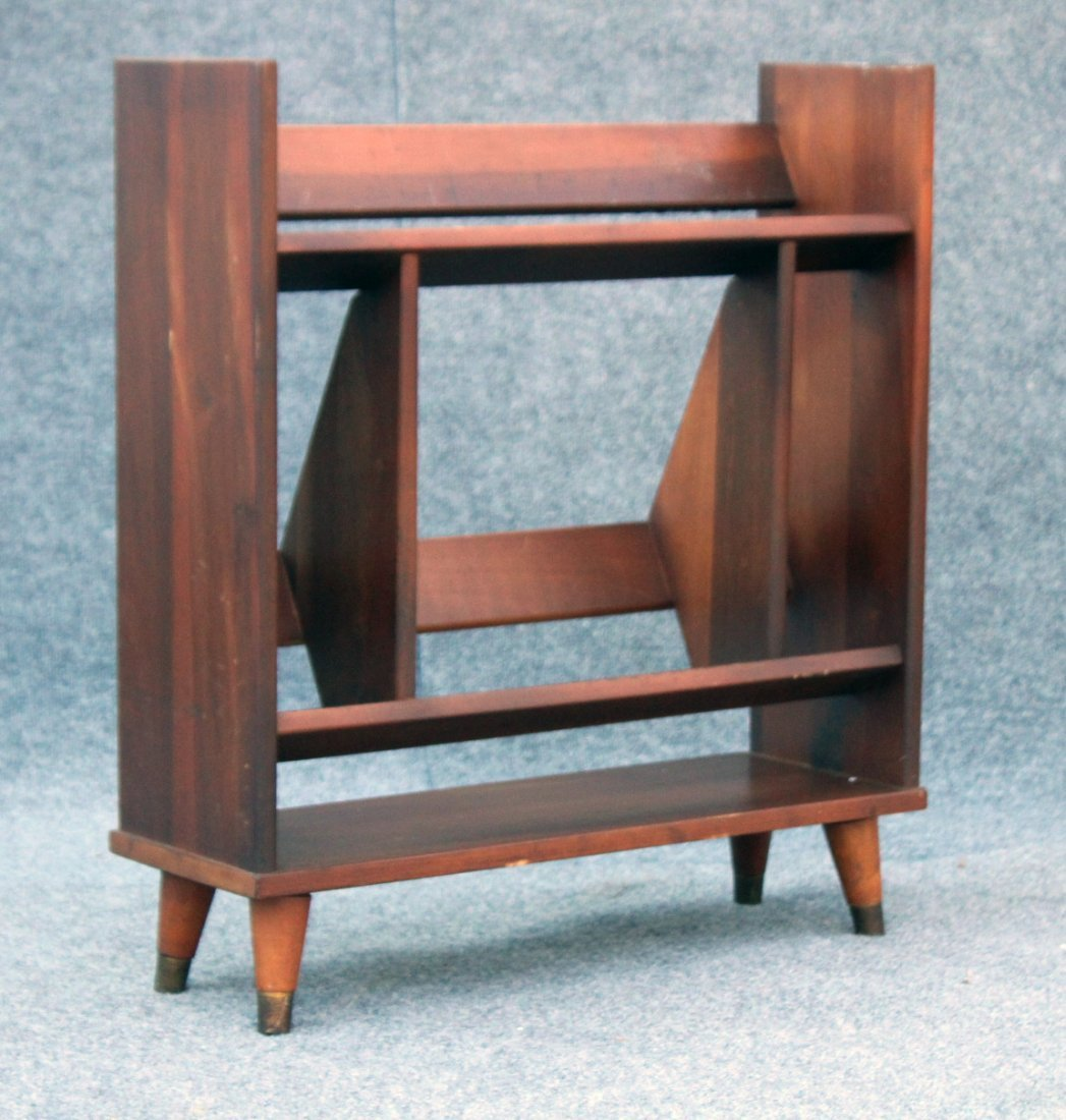 MID CENTURY MODERN DANISH TEAK NARROW BOOKSTAND