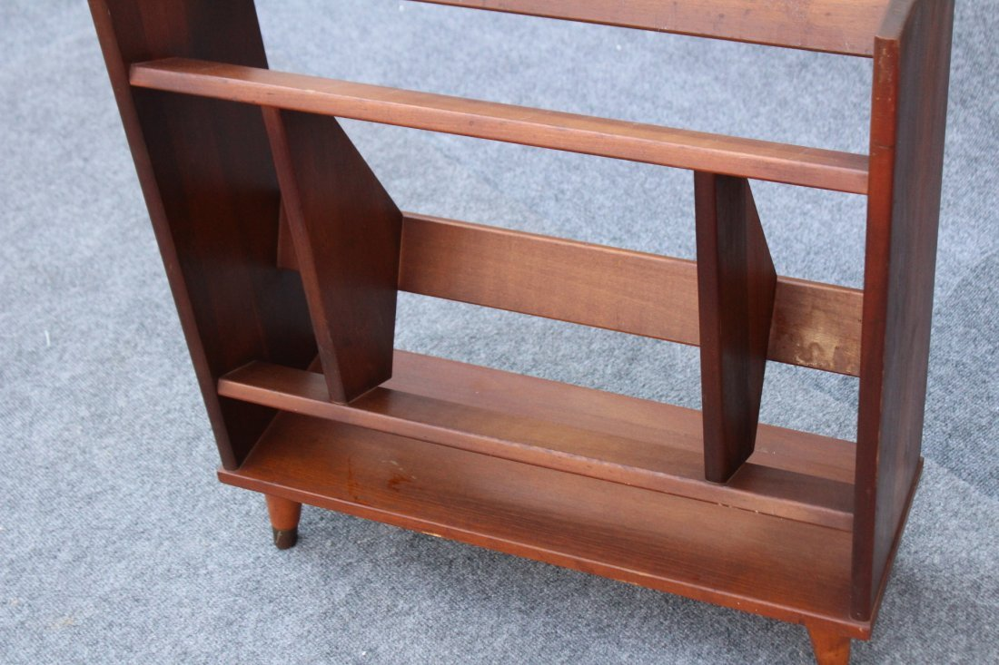 MID CENTURY MODERN DANISH TEAK NARROW BOOKSTAND - 4