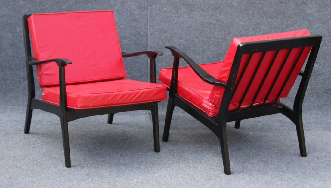 PAIR MID CENTURY DANISH DESIGN ARM CHAIRS RED UPHOLSTER