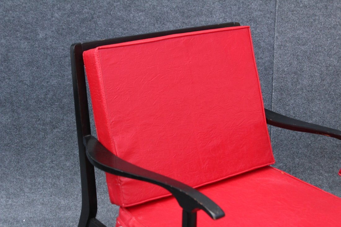 PAIR MID CENTURY DANISH DESIGN ARM CHAIRS RED UPHOLSTER - 3