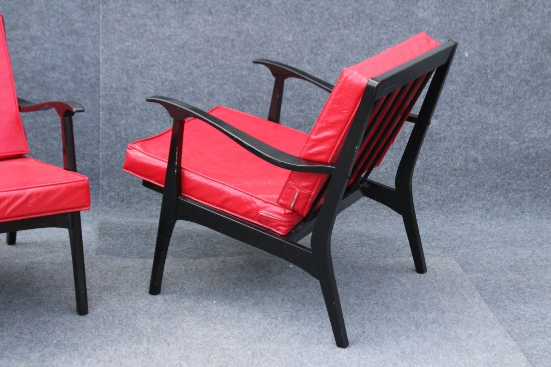 PAIR MID CENTURY DANISH DESIGN ARM CHAIRS RED UPHOLSTER - 6