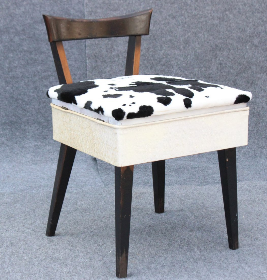 MID CENTURY MODERN SEWING CHAIR COW HIDE PATTERN SEAT