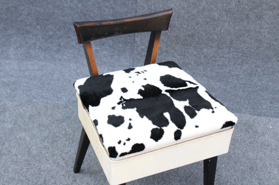 MID CENTURY MODERN SEWING CHAIR COW HIDE PATTERN SEAT - 2