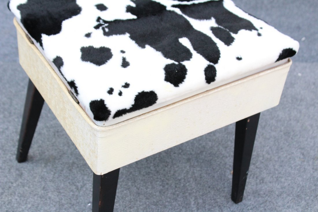 MID CENTURY MODERN SEWING CHAIR COW HIDE PATTERN SEAT - 3