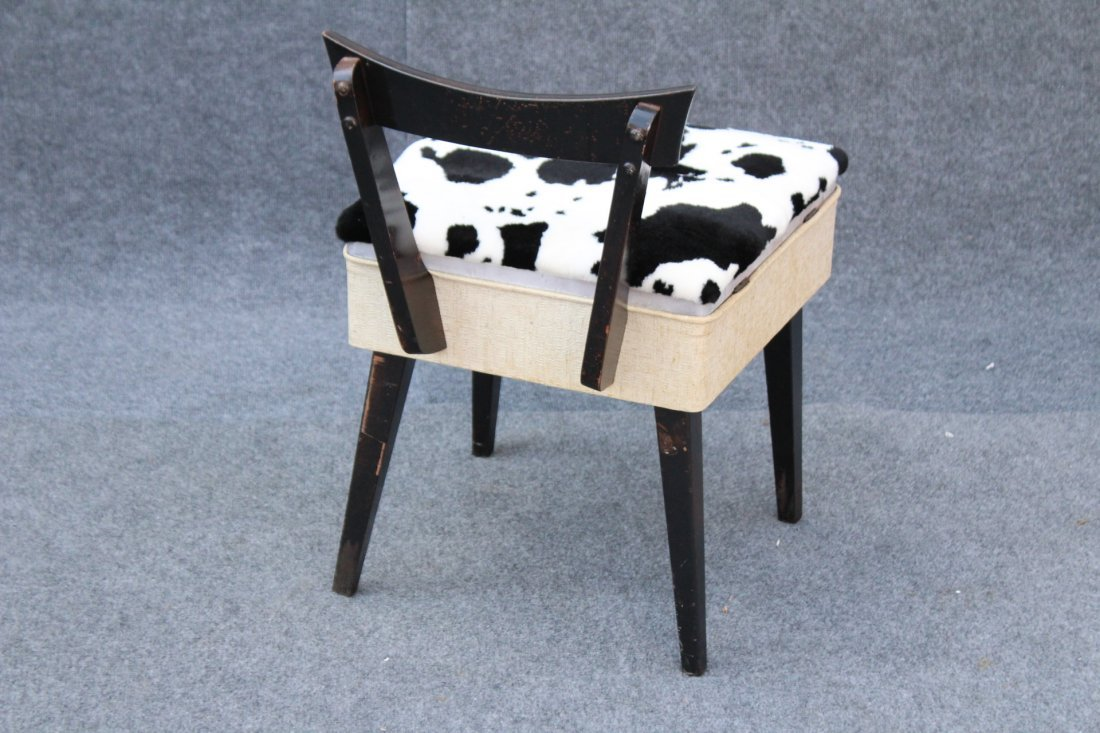 MID CENTURY MODERN SEWING CHAIR COW HIDE PATTERN SEAT - 4