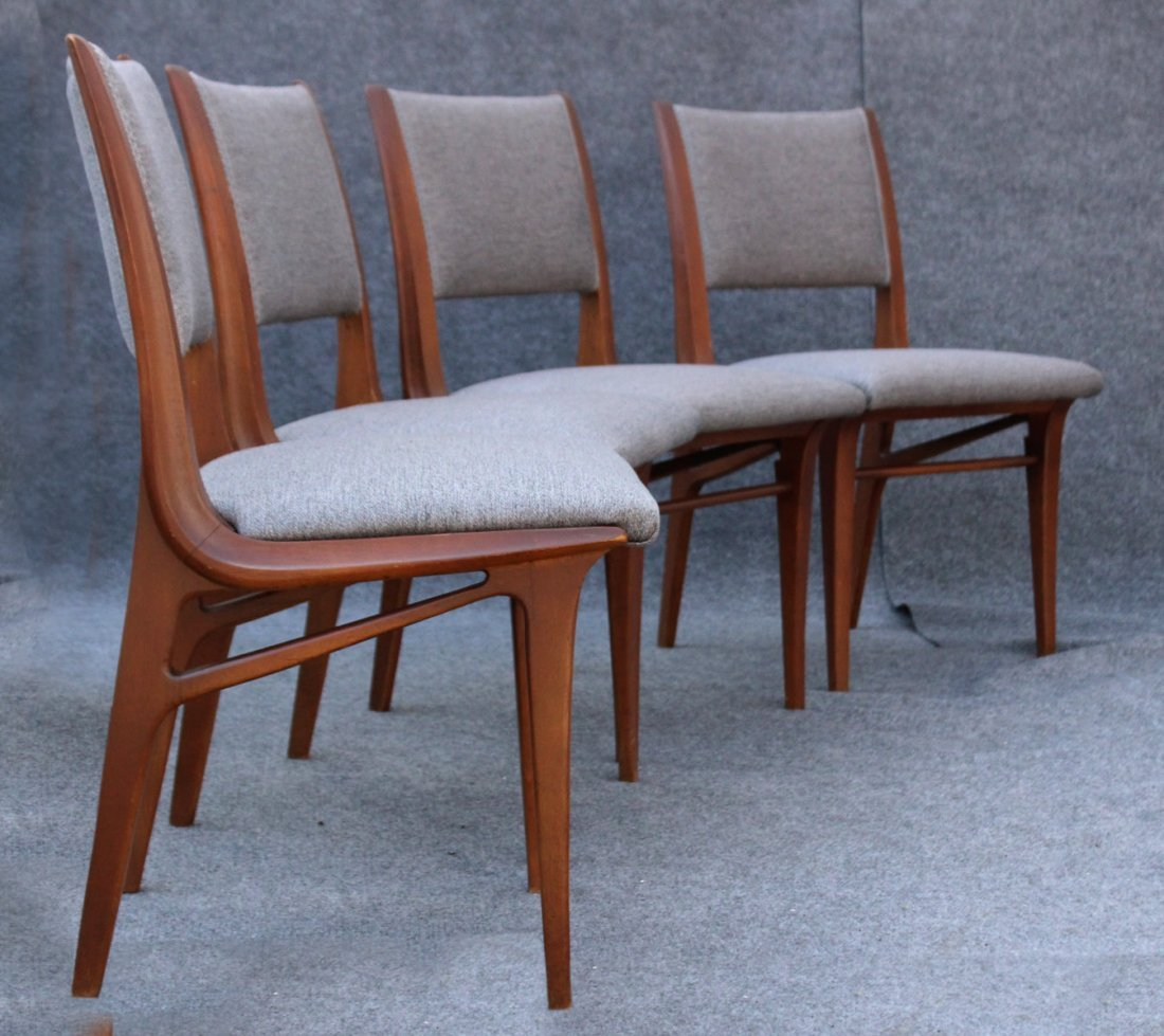 Mid Century DANISH TEAK HIGH DESIGN SET 4 DINING CHAIRS