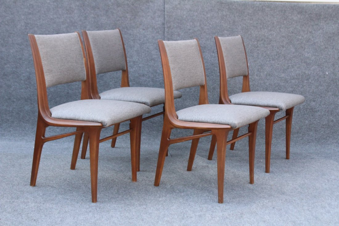 Mid Century DANISH TEAK HIGH DESIGN SET 4 DINING CHAIRS - 2