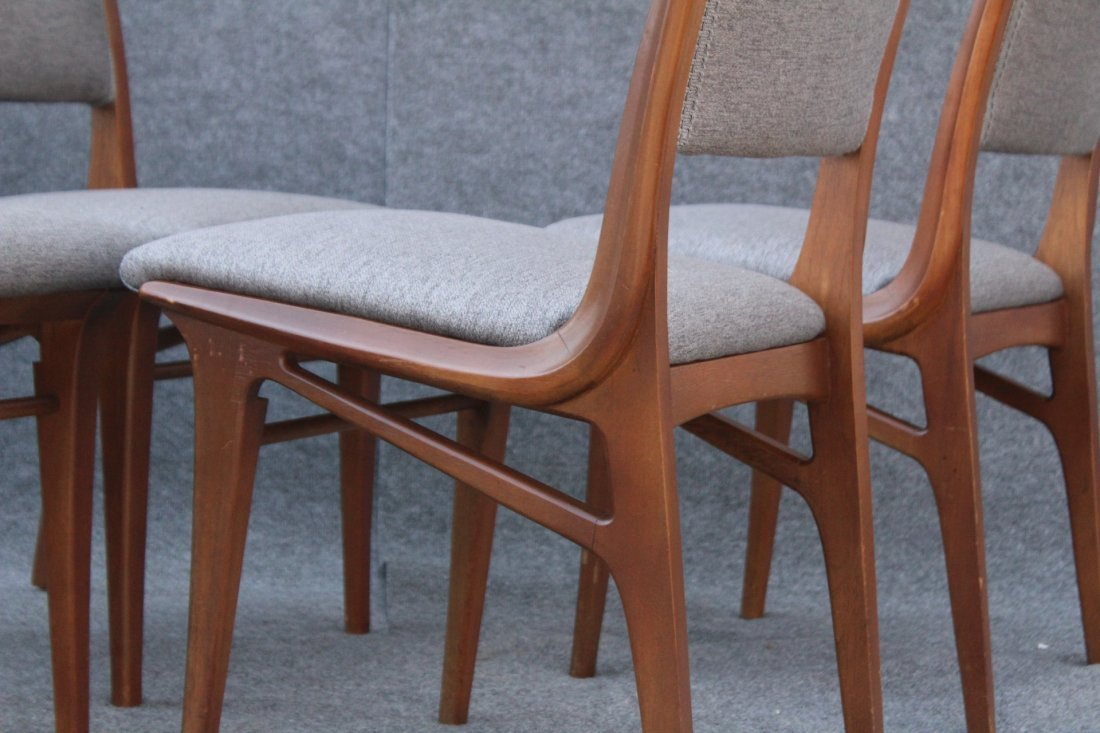 Mid Century DANISH TEAK HIGH DESIGN SET 4 DINING CHAIRS - 7