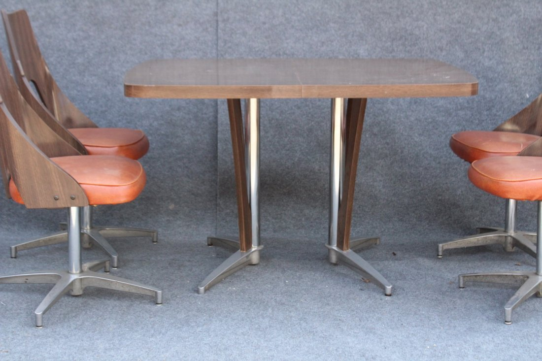 SPACE AGE DESIGN CHROME AND FORMICA 6 CHAIRS, TABLE - 2