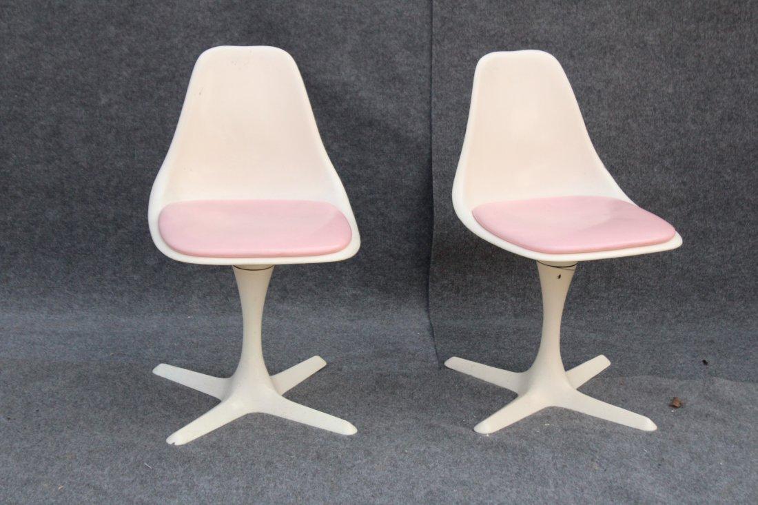 BURKE Saarinen Style Pair Dining Chairs Propeller Base