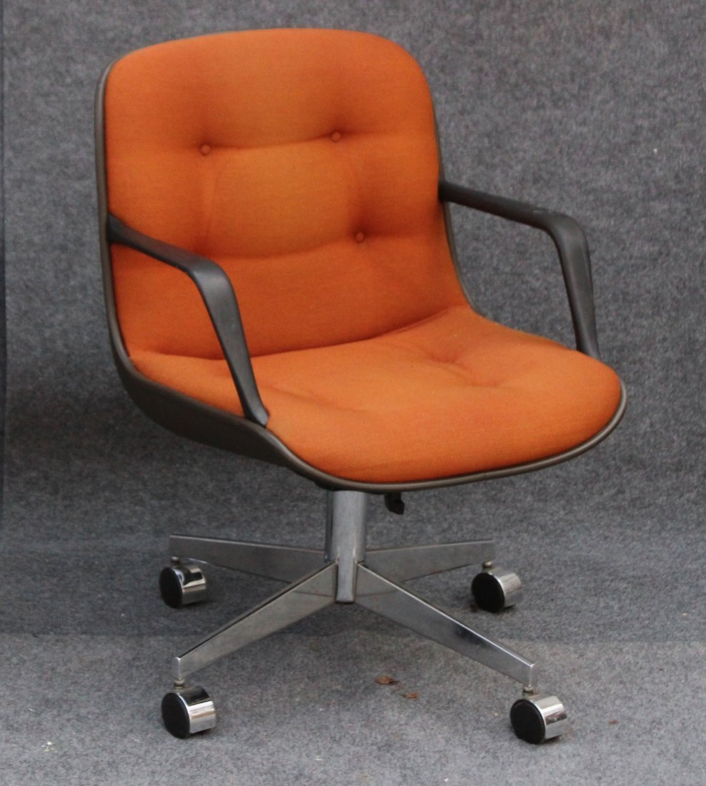 STEELCASE ORANGE UPHOLSTERED SWIVEL ARM CHAIR