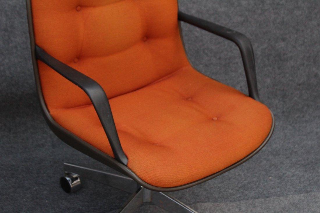 STEELCASE ORANGE UPHOLSTERED SWIVEL ARM CHAIR - 2