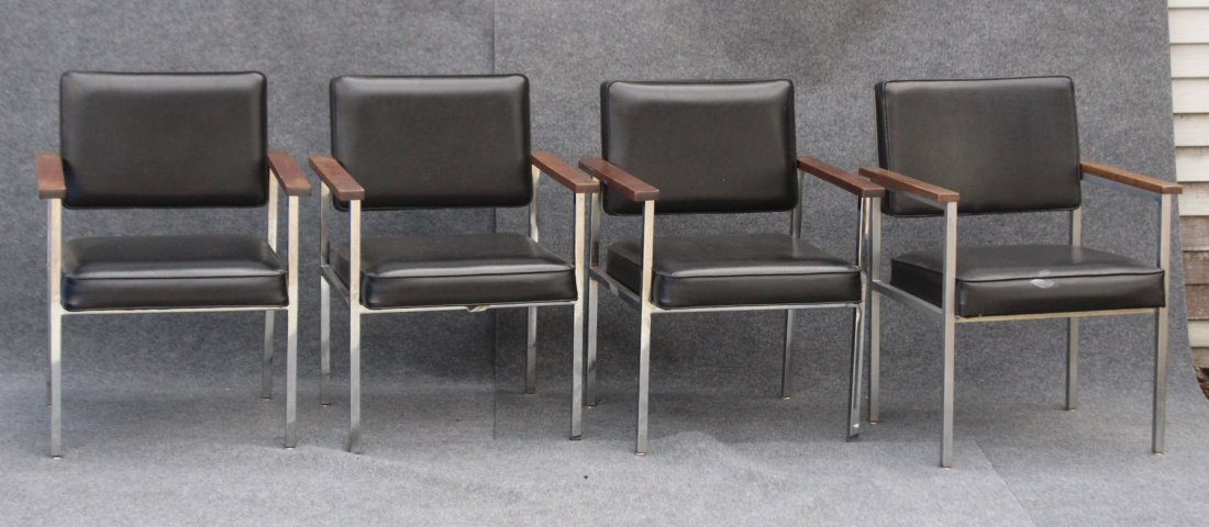 SET 4 MID CENTURY KNOLL CHROME AND BLACK ARM CHAIRS