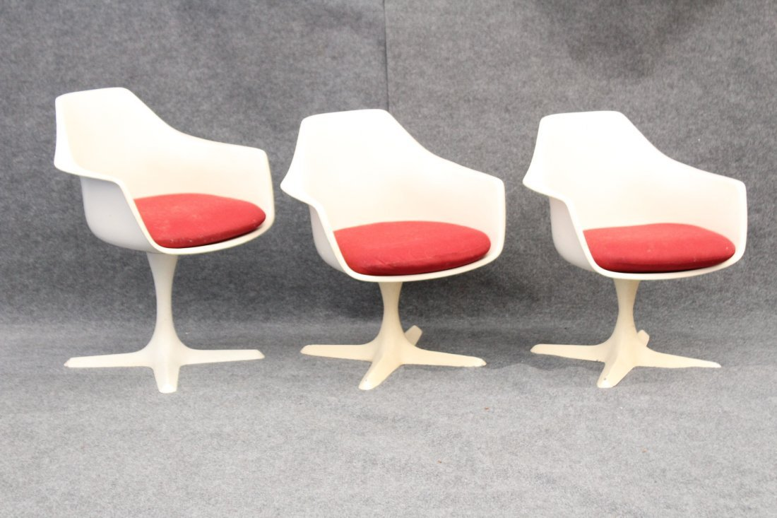 BURKE Saarinen Style 3 Dining Arm Chairs Propeller Base