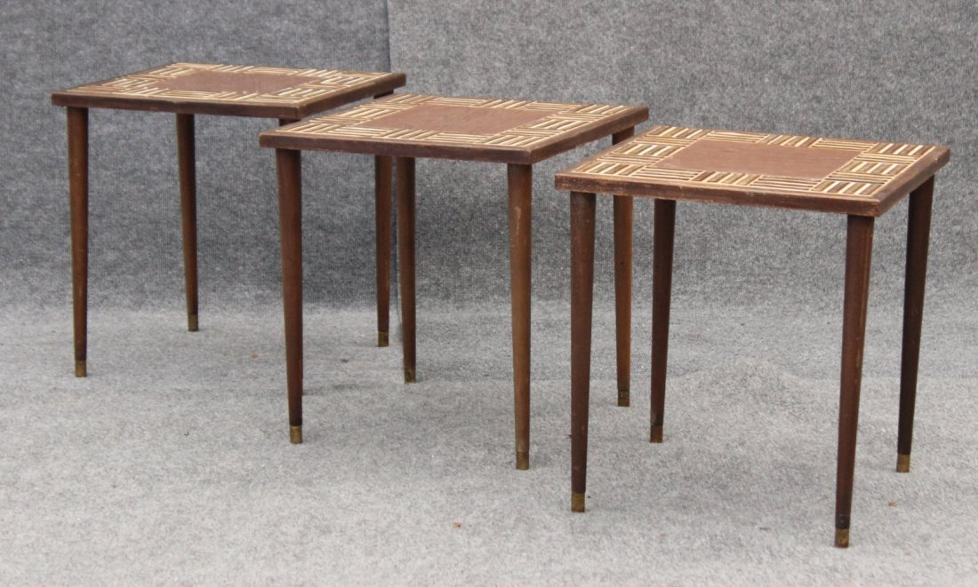 Nest 3 MID CENTURY TILE TOP STACKABLE TABORET STANDS