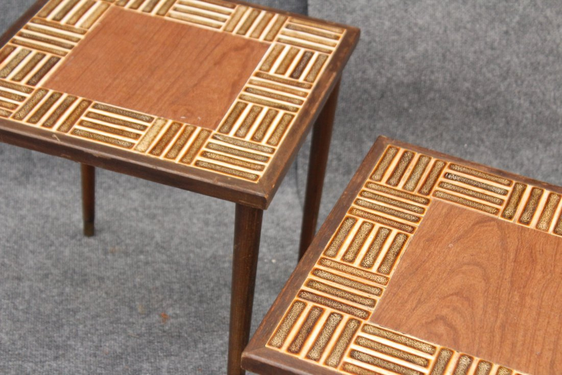 Nest 3 MID CENTURY TILE TOP STACKABLE TABORET STANDS - 3