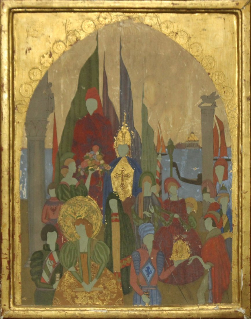 BYZANTINE OIL PAINTING ON WOOD BOARD GOLD GILT